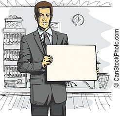 Vector Business Man with Empty Write Board - Idea concept....