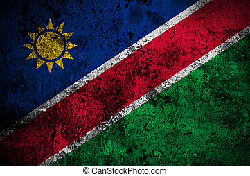 grunge flag of Namibia with capital in Windhoek