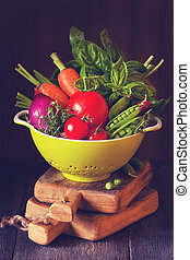 Vegetables - Fresh ripe vegetables with water drops in a...