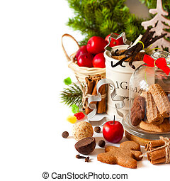 Christmas - Christmas cookies in a glass bell jar and...