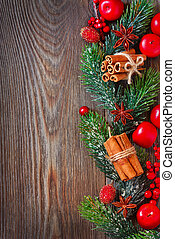 Christmas - Christmas wooden background with spices and...