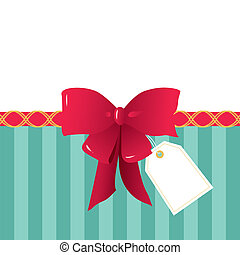 Red Ribbon, Gift Wrapping Bow and a Tag