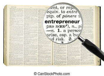 Searching for ENTREPRENEUR - A magnifying glass on the word...