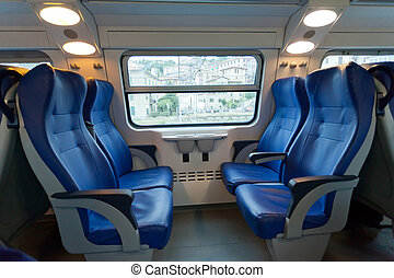 Interior of the train of the long-distance message in Europe