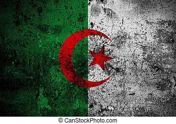 grunge flag of Algeria with capital in Algiers