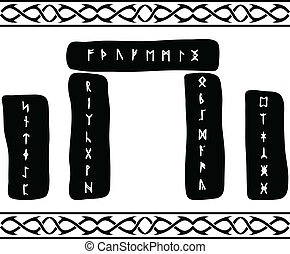 runic stones. vector illustration