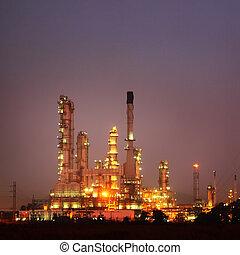 refinería, planta, producto petroquímico, crepúsculo, aceite