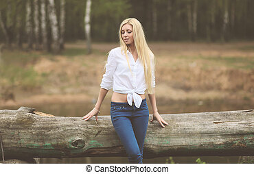 Vintage calm photo pretty blonde outdoors