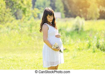 Été,  girl, agréable, champ, enceintes