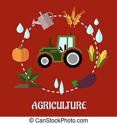 Agriculture flat infographic concept