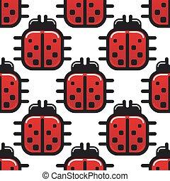 Stylized red ladybug seamless pattern