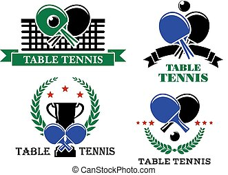 Four Table Tennis emblems or badges with crossed bats and...