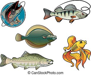 Salmon, flounder, perch and goldfish - Five cartoon colored...