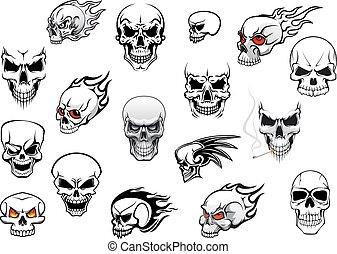 Horror, Halloween and danger skulls set for tattoo, mascot,...