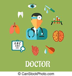 Medical flat infographic concept with a central cartoon...