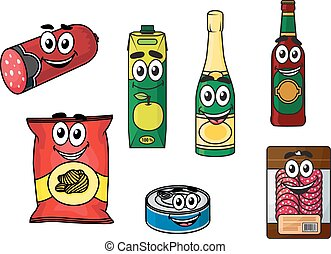 Supermarket groceries colored icons - Cartoon vector...