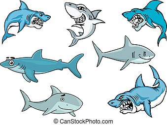 Cartoon sharks with various expressions from fierce and evil...