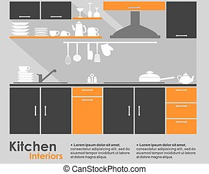 Kitchen interior flat design showing a fitted kitchen with...