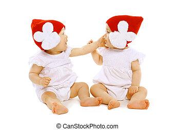 baby, zwillinge, spielende