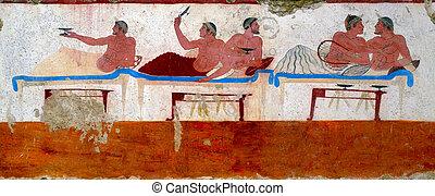 antiga, Grego, fresco, Paestum, Itália, chamado,...