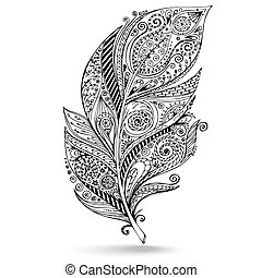 Vector tribal feather. Series of doodle feather. - Vector...