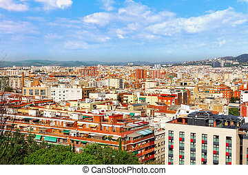 Panorama on Barcelona city from Montjuïc castle.Catalonia....