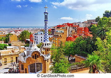 BARCELONA - SEPT, 02:Gorgeous and amazing Park Guel in...