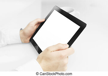 businessman holding touch pad, close up