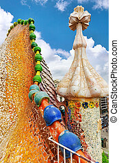 BARCELONA, SPAIN - SEPT 04, 2014: Roof, housetop Gaudi's...