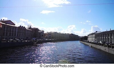 Scenic view at Griboyedov channel with two embankments, St....