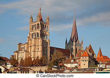 Lausanne - Ancient cathedral in Lausanne, dominating the...