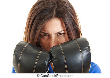 business woman with boxing gloves in isolated over white