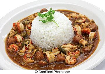 pollo, y,  Gumbo, cangrejos de río, embutido