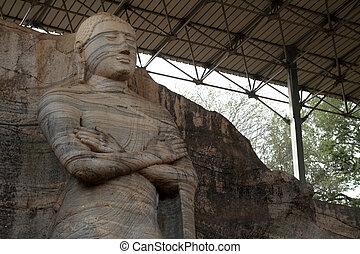 Gal Vihara in Polonnaruwa - Gal Vihara Buddha statue in...