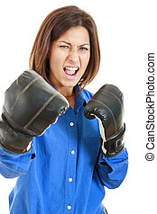 Fearless and furious young businesswoman in boxing concept