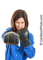 furious young businesswoman in boxing concept
