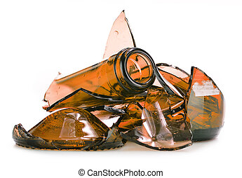 Pieces of broken glass over white background Recycling
