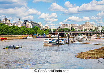River Thames London, England - View over river Thames to...