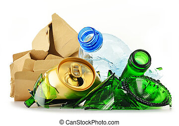 Recyclable garbage consisting of glass plastic metal and...