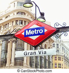 Madrid - Gran Via Metro Station in Madrid, Spain