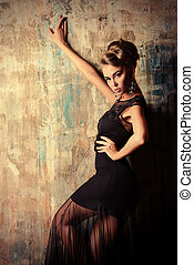 evening dress - Stunning female model in black evening dress...