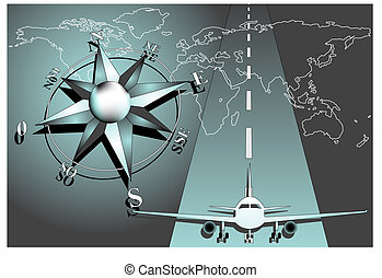 Compass rose with airiplane