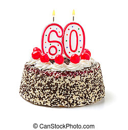 Birthday cake with burning candle number 60