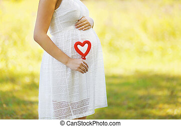 心, 婦女, 家庭, 怀孕, 概念,  -, 母性, 懷孕