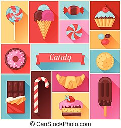Background with colorful various candy, sweets and cakes