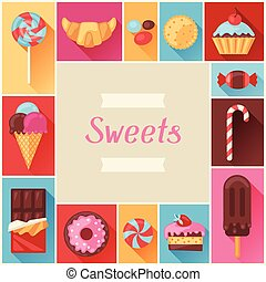 Frame with colorful various candy, sweets and cakes.