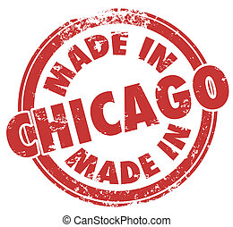 Made in Chicago City Words Round Red Stamp Pride Production...