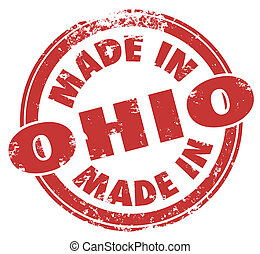 Made in Ohio Words Round Red Stamp Manufacturing Pride Badge...