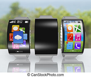 group of ultra-thin curved screen smartwatch with metal...