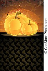 Dark dungeon and burning pumpkins - Burning pumpkins in a...
